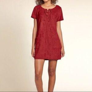 ⭕️ 3/$20! Hollister lace up faux suede dress